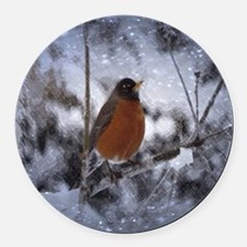 nature winter robin bird Round Car Magnet