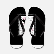 Pink Black Poodle Paris France Script Flip Flops