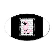 Pink Black Poodle Paris France Script Wall Decal