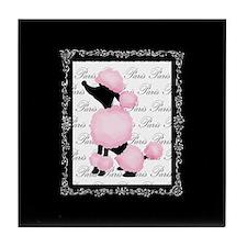 Pink Black Poodle Paris France Script Tile Coaster