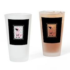 Pink Black Poodle Paris France Script Drinking Gla