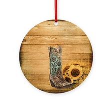 western cowboy sunflower Round Ornament
