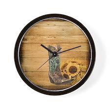 western cowboy sunflower Wall Clock