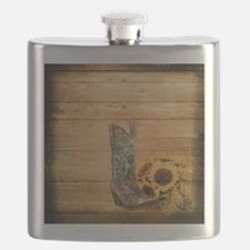 western cowboy sunflower Flask