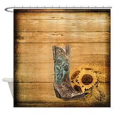 western cowboy sunflower Shower Curtain