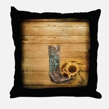 western cowboy sunflower Throw Pillow
