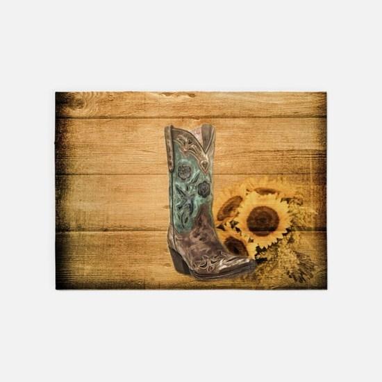 western cowboy sunflower 5'x7'Area Rug
