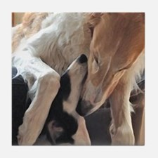 Borzoi Puppy Love Tile Coaster