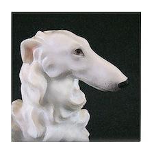 White Borzoi Profile Tile Coaster