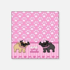 """Pug Cuties Pink Stripes and Square Sticker 3"""" x 3"""""""