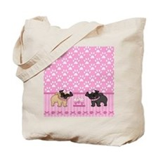 Pug Cuties Pink Stripes and Paws Tote Bag