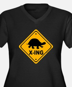 Turtle X-ing Women's Plus Size V-Neck Dark T-Shirt