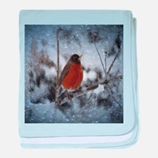 nature winter robin bird baby blanket