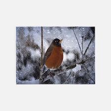 nature winter robin bird 5'x7'Area Rug