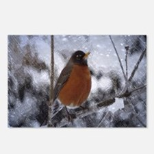 nature winter robin bird Postcards (Package of 8)