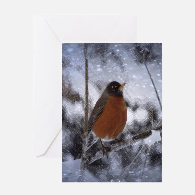 nature winter robin bird Greeting Cards