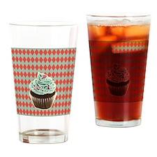 retro Diamond Pattern cupcake Drinking Glass