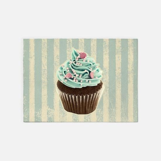 retro pattern cute cupcake 5'x7'Area Rug