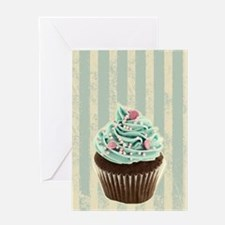 retro pattern cute cupcake Greeting Cards