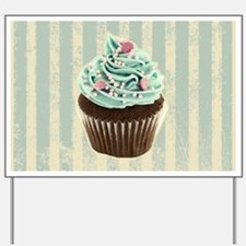 retro pattern cute cupcake Yard Sign