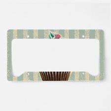 retro pattern cute cupcake License Plate Holder
