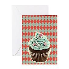 retro Diamond Pattern cupcake Greeting Cards