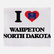 I love Wahpeton North Dakota Throw Blanket