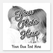 "CUSTOM Photo and Caption Square Car Magnet 3"" x 3"""
