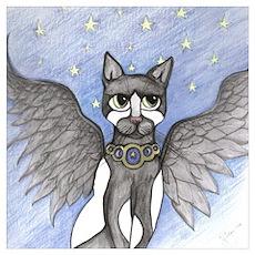 Tuxedo Angel Cat Poster