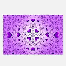 Purple Swirls and Hearts by Xennifer Postcards (Pa