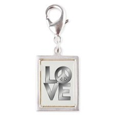 Metallic LOVE with Peace Symbol Charms
