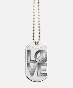 Metallic LOVE with Peace Symbol Dog Tags