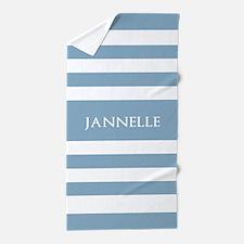 Personalized Name Light Sky Blue Strip Beach Towel
