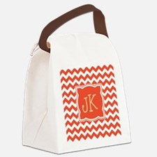 Orange Chevron Stripes Monogrammable Canvas Lunch