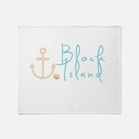 Block Island Script Throw Blanket