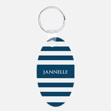 Blue and White Stripes Pers Keychains