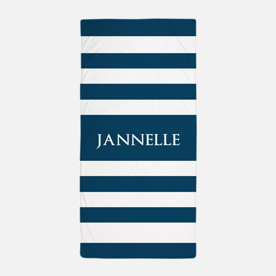 Blue and White Stripes Personalized Beach Towel