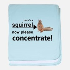 Concentrate on the squirrel baby blanket