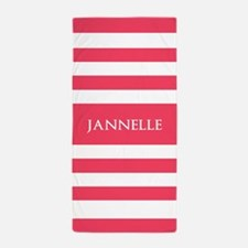 Coral Red and White Stripes Personaliz Beach Towel