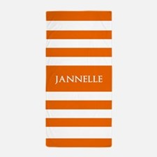 Bold Orange and White Stripes Personal Beach Towel