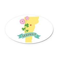 Vermont State Outline Red Clover Flower Oval Car M