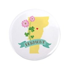 Vermont State Outline Red Clover Flower Button