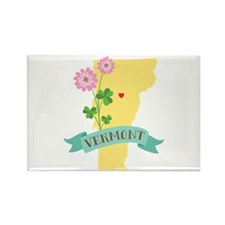 Vermont State Outline Red Clover Flower Magnets