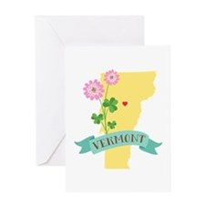 Vermont State Outline Red Clover Flower Greeting C