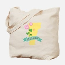 Vermont State Outline Red Clover Flower Tote Bag