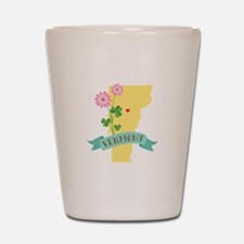 Vermont State Outline Red Clover Flower Shot Glass