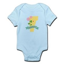 Vermont State Outline Red Clover Flower Body Suit