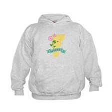Vermont State Outline Red Clover Flower Hoodie
