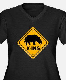 Rhino X-ing Women's Plus Size V-Neck Dark T-Shirt
