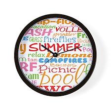 Summer Word Art Wall Clock